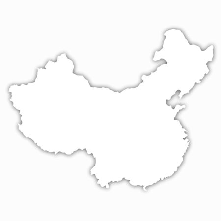 china map white background realistic isolated vector illustration