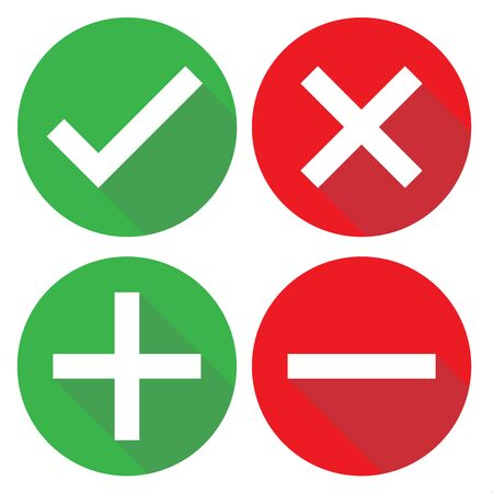 yes no plus minus check mark icon vector