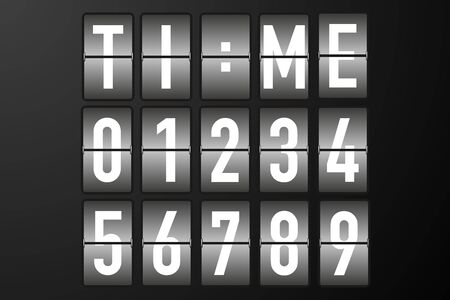 split flap numbers for time display vector illustration