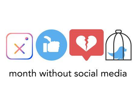 social media addiction leaving concept isolated vector illustartion