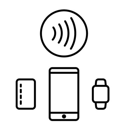 contactless payment icon card phone watch vector isolated
