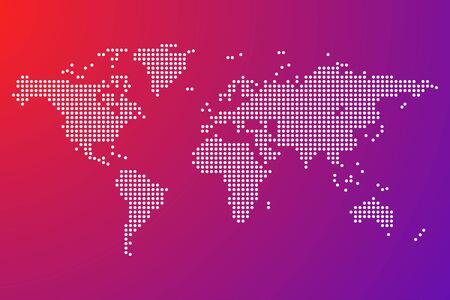 world map dots isolated modern design vector illustration Vetores