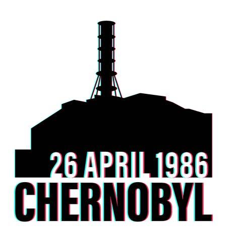 Tchernobyl catastrophe vector illustration stock avec date isolée