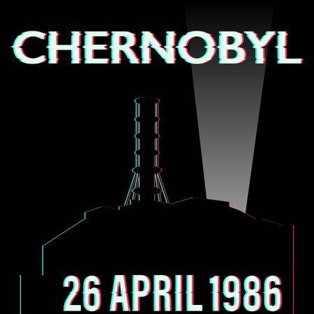 Tchernobyl catastrophe vector illustration stock avec date isolée Vecteurs
