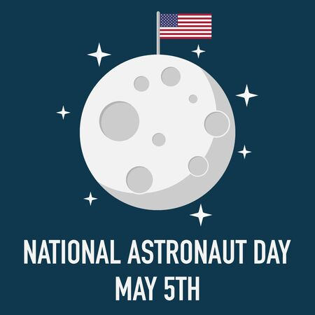 national astronaut day may five moon landing vector
