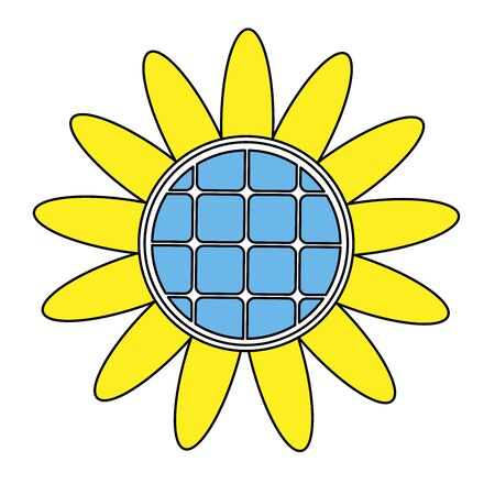 solar battery sunflower concept white background isolated vector