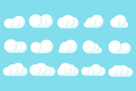 clouds creative set blue background isolated vector illustration 일러스트