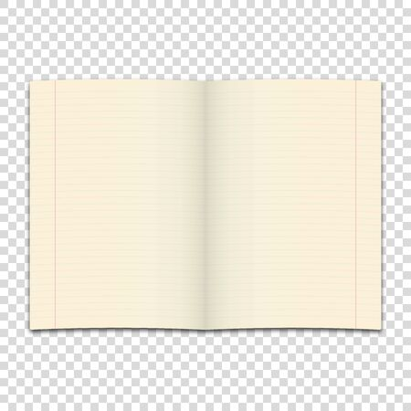 notebook page template isolated white background vector illustration