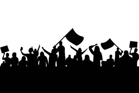 people crowd protest strike demonstration revolution vector illustration