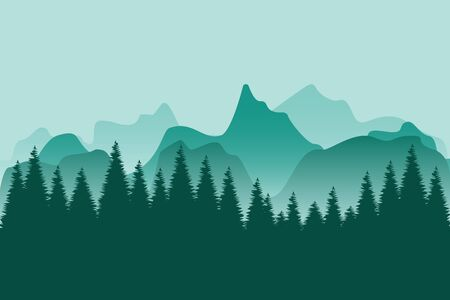 smokey mountain nature landscape forest silhouette vector illustration