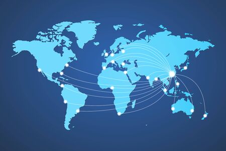 world map global cargo goods destination china vector
