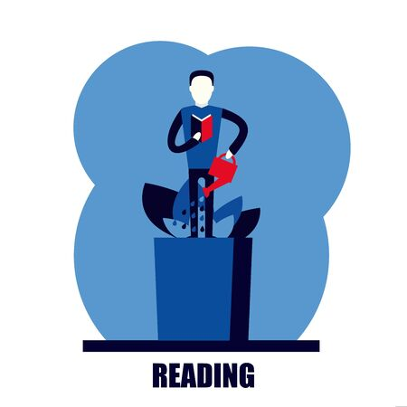 self growth study character reading flat vector illustration
