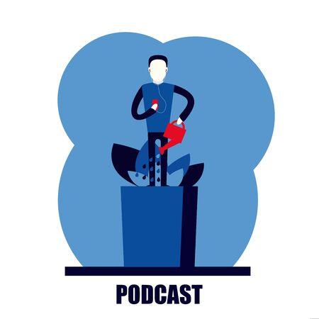 podcast personal self growth development flat vector illustration