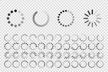 load progress circle bar symbol set vector isolated