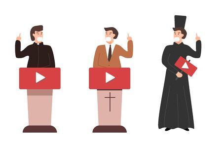 online church pastor preaching video streaming vector illustration Vektoros illusztráció