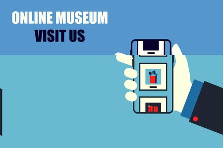 visit museum online mobile stay home vector illustration