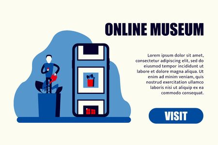 visit museum online mobile stay home vector illustration Vector Illustration