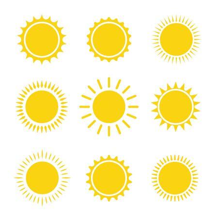 sun icon set summer graphic symbol vector illustration