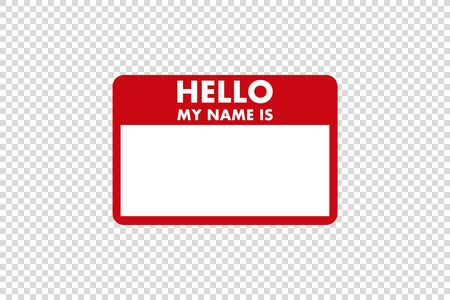 hello my name is sticker tag vector card