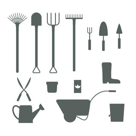 garden equipment tool set isolated white background vector