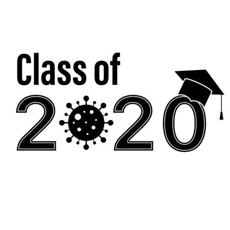 class 2020 graduate school graduation coronavirus covid vector