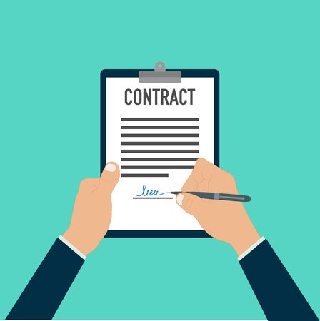 hand signing paper document pen document paper vector illustration Ilustración de vector