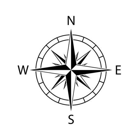 Carte des vents de l'icône de la boussole au nord-ouest de l'illustration vectorielle