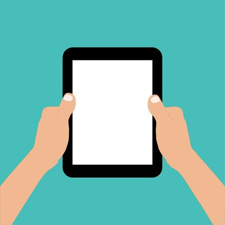 hand hold tablet finger touch screen vector design
