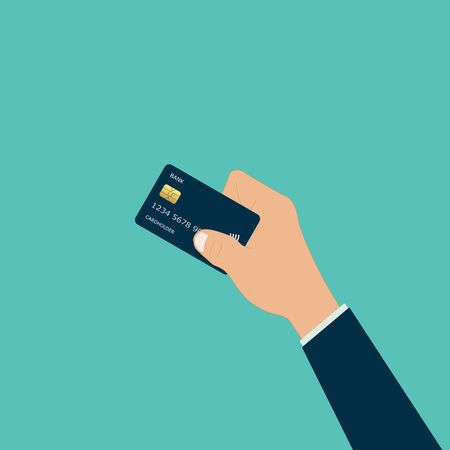 hand holding credit money card pay vector illustration Vectores