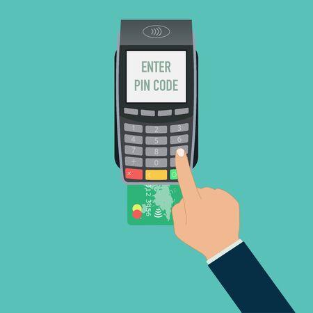 nfc tap card payment contactless terminal vector illustration Векторная Иллюстрация