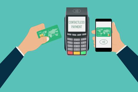 nfc tap card payment contactless terminal vector illustration Vectores