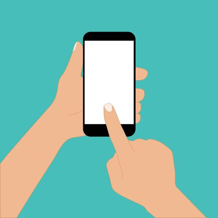 mobile phone in hand finger touch vector illustration