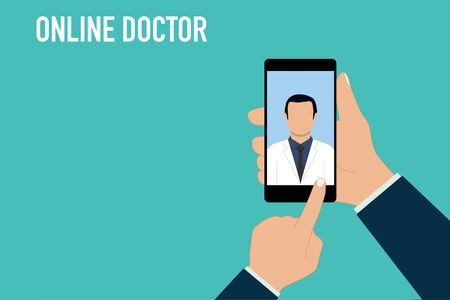 online doctor phone health medical consult vector illustration Vectores