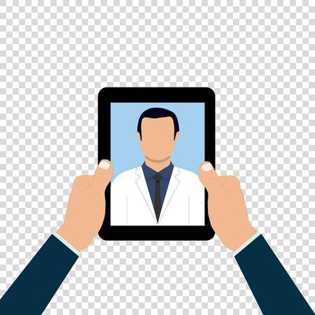 online doctor phone health medical consult vector illustration Ilustração