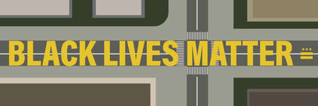 black lives matter road painting vector Vectores