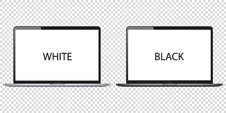 Laptop computer blank screen vector on white background pc mockup. black metal open monitor modern isolated desktop. silver notebook business illustration. front display template. realistic