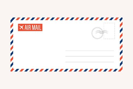 air mail letter vector. post stamp. airmail frame postcard. blue red stripes pattern. mockup template envelope. on white background. retro vintage blank message. world international  Vectores