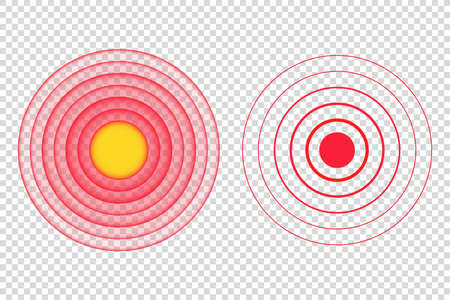 red pain circle spot vector illustration. medical target point icon. body, muscle, concentric, stomach, radial, muscular, bone, cancer, hurt, leg, head, nerve, neck, throat.