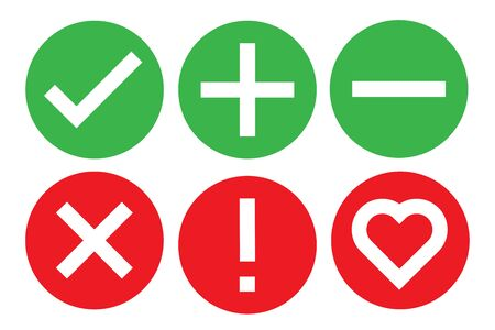 check icon mark sign set vector illustration. stock correct checklist box. tick heart x ok true cancel list.  green and red on white background isolated. line graphic symbol done verify ok Vectores