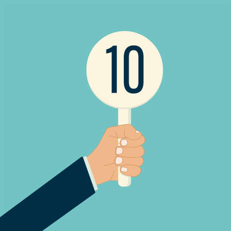 judge hand holding score card vector illustration. scorecard number for competition jury vote set. panel icon up. isolated. white background. best grade or achievement