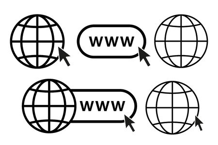 online internet icon website symbol set vector illustration. www site access. web net world globe in computer. click mouse cursor sign. go visit enter webpage. browse url white background isolated
