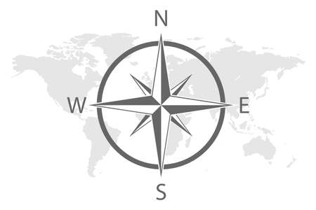earth world map compass asia europe america vector.