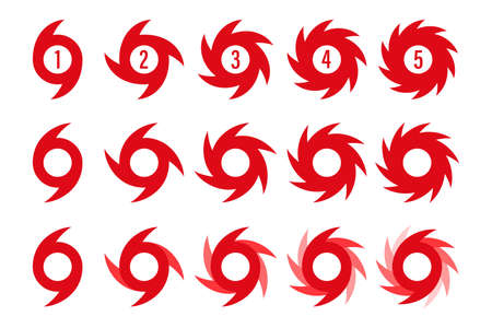 hurricane scale icon  warning vector. vortex symbol. cyclone storm. severe damage tornado. typhoon disaster hazard. graphic swirl on white background. Vectores