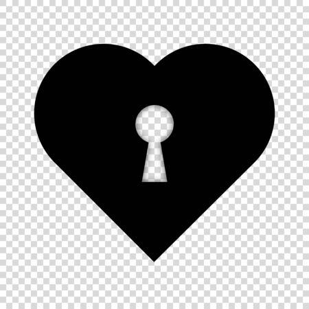 heart key love open lock concept vector illustration. door keyhole icon. romantic symbol. valentine security sign. isolated shape padlock. close protection. white background. day