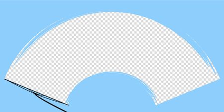car wiper on windscreen or windshield vector illustration. rain water on front glass. clean dirt dust snow blades. road safety. auto motion mockup. transparent template. stock icon. inside vehicle view
