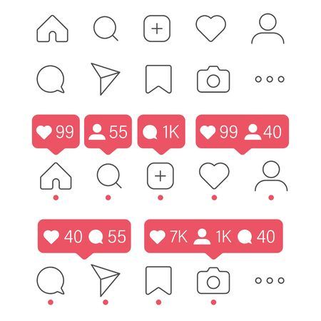 social media icon vector set. . share like heart message bubble chat sign symbol. love web. communication network. white background. outline modern design. isolated stock. red dot Vectores