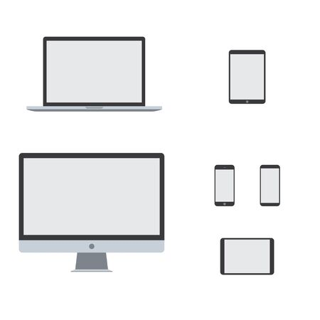 computer laptop tablet phone vector set. device stock illustration. blank screen smartphone notebook isolated mockup. on white background. internet monitor display pad design. pc Vectores