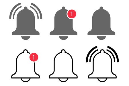bell notification icon vector. message alert notice. subscribe reminder attention app. web alarm inbox. mobile phone red button. smartphone social media template. stock illustration
