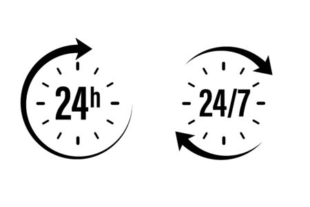 24 7 clock icon vector. day hour open customer support service. call center time assistance 247. online help. round week year sign. contact line design. isolated white background