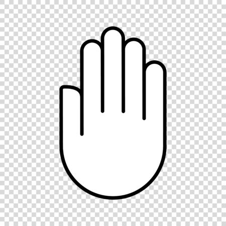 hand palm stop vector icon. outline illustration. objection silhouette sign. isolated